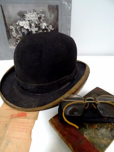 early BOWLER DERBY gent's hat BOND Calhoun's Stores STEAMPUNK