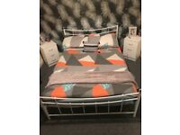Double Metal white bed & mattress