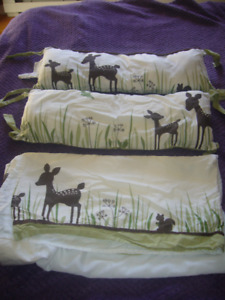 Crib Bumper Pads, Comforter & Bed skirt (Forest Theme)