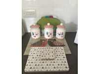 Kitchen set. Tea coffee sugar canisters glass worktop saver placemats, coasters, chopping boards