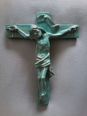 LARGE VINTAGE GLAZED EARTHENWARE PRIESTS ALTAR WALL CHURCH CRUCIFIX NUMBERED