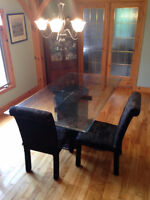 Glass table 2 Chairs
