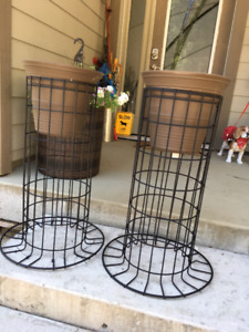 2 Matching Planter Stands, Black Metal, Merville