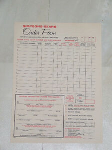 Vintage 1964 order form for Simpsons-Sears