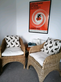2 Vintage Heavyweight Wicker Rattan Chairs with Ivory Fitted Cushions