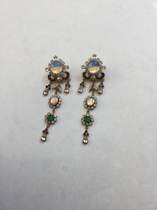 Jeweled Gold and Colourful Stones earrings