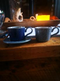 2 x denby espresso cups studio blue and grey