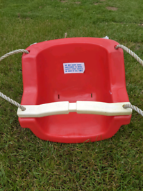 Kids swing seat with safety bar
