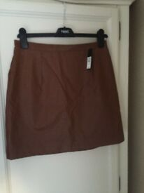 River island brown leather effect skirt