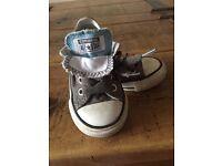 Grey dual tongued infants converse shoe size 5