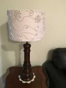 For Sale: 2 Vintage Wooden Lamps with Designer Shades
