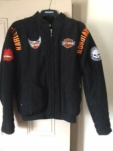 Harley Davidson Black Cloth Jacket with crests, Mens Large