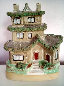 Victorian Staffordshire Flatback 2 Storey House in good condition!