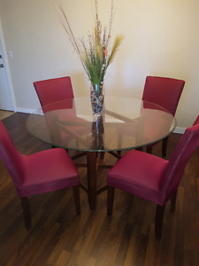 5 Pc Glass Dinning table set