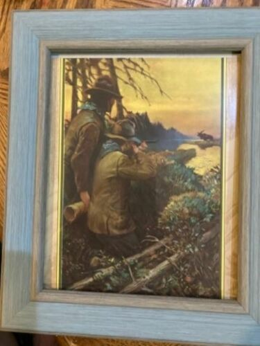 """Great old moose hunting print from the 40s wonderful colors 11x13"""" framemust see"""
