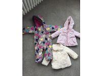 3 X girls winter coats age 9-12 months