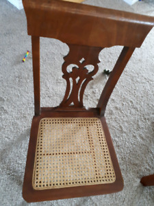 Cane chair and brown ottoman $25 takes both