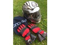 Motorbike helmet jacket gloves boots