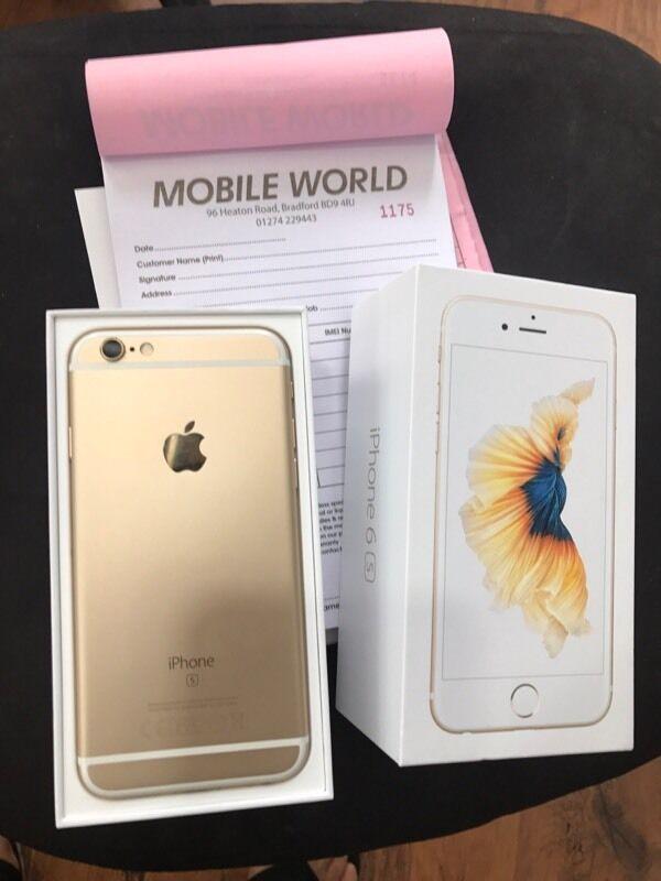 IPhone 6s 16gb Gold unlocked with Apple warantyin Bradford, West YorkshireGumtree - IPhone 6s 16gb Gold unlocked with Apple waranty Work any sim Pick up from Mobile world96 heaton road Bd9 4rj Bradford 10am till 8pm 01274229443