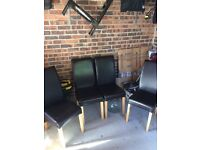 Set of 4 dining chairs faux leather