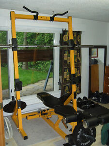 Powertec Olympic Weights rack & connected workbech + accessories