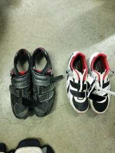 Shimano and Northwave clipless cycling shoes