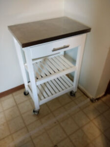 Stainless Steel Kitchen Cart on Wheels with White Base