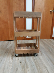 Three tier wood rolling cart