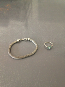 Silver bracelet and blue stone silver ring