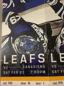 2-Gold Toronto Maple Leafs Tickets forFebruary 23/19 in Toronto