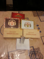 ELEVEN CIGAR BOX COLLECTION and a VINTAGE LIGHTER  METAL and WOO