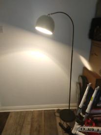 Modern Designer Style Black Curved Stem Floor Lamp with a Gloss Black