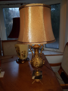 "Gorgeous vintage ornate metal lamp 28"" tall with Dolphin legs, m"