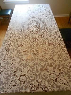 "Late 19th Century Renaissance Lace Table Cloth. 65""x135""."