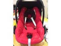 Maxi cosi pebble car seat suitable from birth colour red