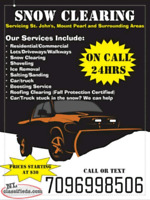 SNOW CLEARING on call 24hrsCall or Text7096998506