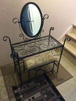 Glass Vanity Stand with seat