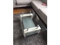 White/Glass coffee table