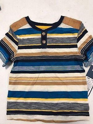 (Genuine Kids by OshKosh Toddler Boys Lg Turquoise Stripe Short Sleeve Shirt NWT)