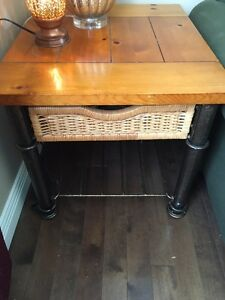 3 TABLES--Coffee table, end table and wing back table for sale