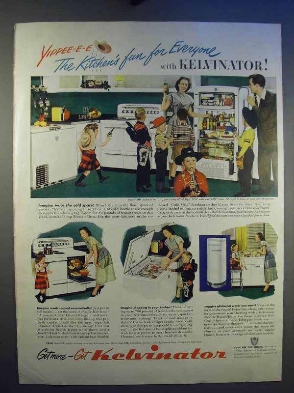1950 Kelvinator Refrigerator, Range, Home Freezer Ad