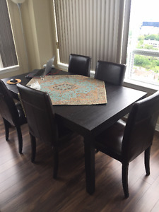 IKEA BLACK DINING TABLE ,LEATHER CHAIRS,TV UNIT,COFFEE TABLE