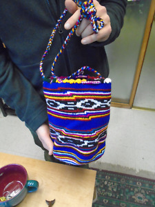 Handmade, very fine crocheted bag