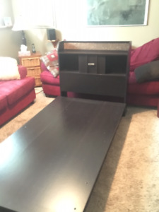 Single bed frame with headboard & storage drawer and desk.