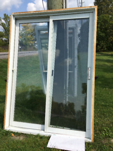 6 ft used patio door -white and sliding screen