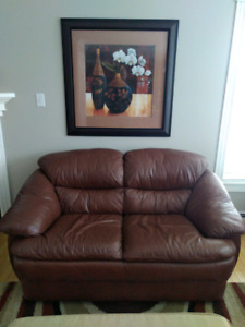 Palliser leather love seat and picture.