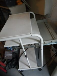 Vintage Metal stand up desk with rollers / pull out drawer