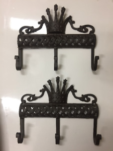 Rustic Cast Iron Crown Coat & Clothing Hooks, Wall Racks