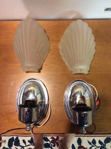 Vintage shell bathroom sconces