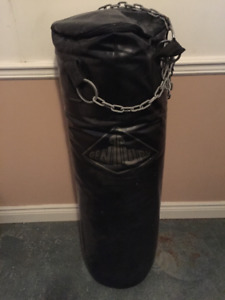 Heavy punching bag and gloves